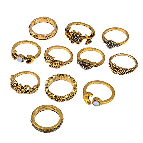 Goddesslili 11Pcs Set Vintage Bohemian Rings for Women Girlfriend Silver Stack Above Knuckle Blue Wedding Engagement Anniversary Simple Jewelry Gift Under 5 Dollars (Gold)