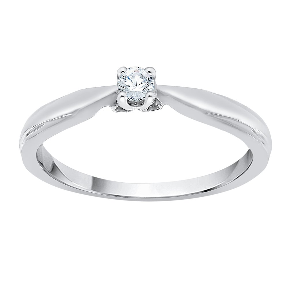 Diamond Solitaire Promise Ring in Sterling Silver (1/10 cttw) (I-Color, SI3-I1 Clarity) (Size-6)