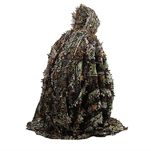 Outdoor 3D Leaves Camouflage Lifelike Ghillie Poncho Camo Cape Cloak Stealth Ghillie Suit Military CS Woodland Hunting Poncho Woodland CS Game Clothing for Jungle Hunting Shooting Wildlife Photography