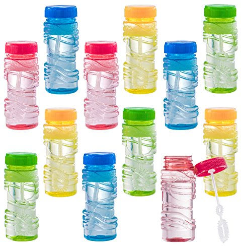 Prextex 12 Pack Bottles of Bubble Solution with 2 Holed 2-in-1 Bubble Wand Fun Summer Toy]()