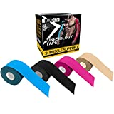 Kinesio Tape Physio Relieve Muscle Soreness and Strain Shoulders Wrists Knees Ankles Elastic Waterproof Air Permeability Hypoallergenic FDA CE Authentication 2 inch x 16 Foot Beig