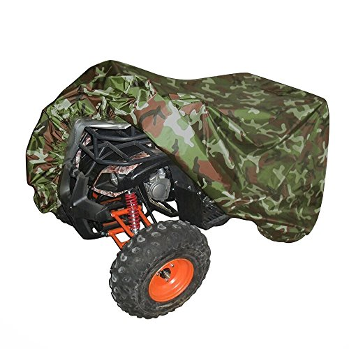 All Weather Protection ATV Cover, Durable Universal Waterproof Wind-proof fit ATV Quad Bike Outdoor Indoor Storage Cover for Polaris Honda Yamaha Suzuki (L, Camouflage) (Towable Storage Bag)