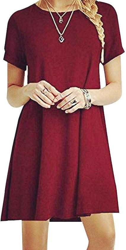 TALLA M. ZHANGNA Mujer Suelto Casual Vestido de la Camiseta Vino Rojo
