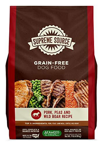 Supreme Source Premium Dry Dog Food Grain Free, USDA Organic Seaweed, Protein, Pork Peas & Wild Boar Recipe for All Life Stages. Made in The USA. (11lb)