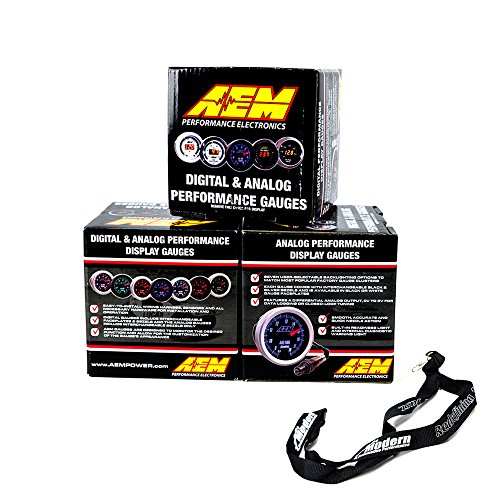 Aem Fuel Controller - AEM 52mm Gauge Combo Air/Fuel Wideband UEGO & Oil Pressure 150psi & Boost 30-35 w/MAP Lanyard Black