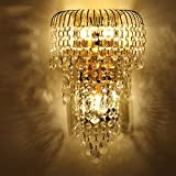 MILUCE Luxury k9 crystal wall lamp led gold living room bedroom bedside dining room wall lamp European lighting