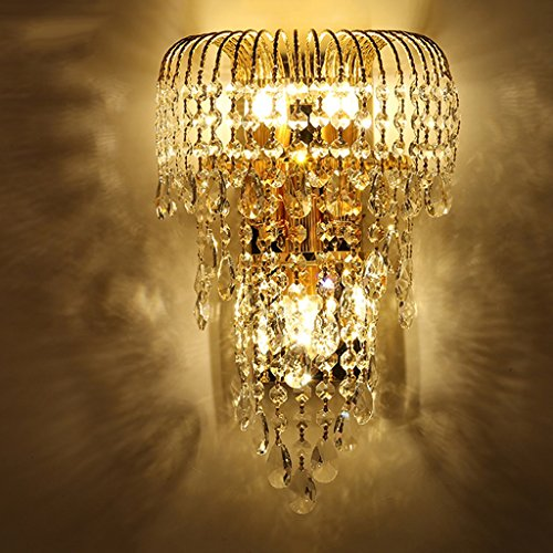 MILUCE Luxury k9 crystal wall lamp led gold living room bedroom bedside dining room wall lamp European lighting by MILUCE