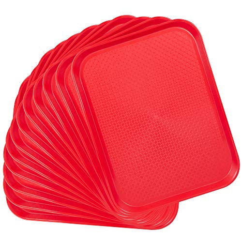 12-pack Fast Food Cafeteria Tray | Twelve 14 x 18 Rectangular Textured Plastic Food Serving TV Tray Multipack | School Lunch, Diner, Commercial Kitchen Restaurant Equipment (Red) ()