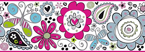 York Wallcoverings ROOM TO GROW DOODLERIFIC BORDER, , white, aqua, turquoise, light pink, hot pink, light green, black, silver glitter