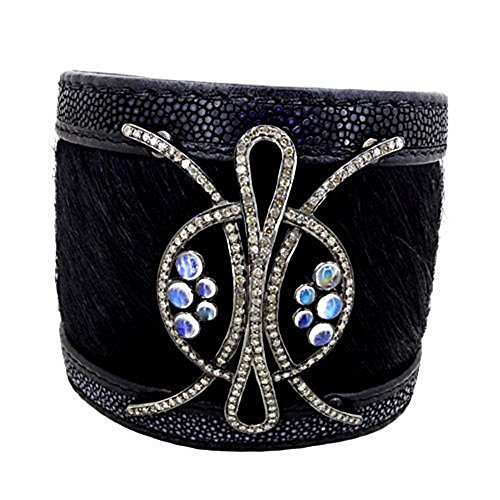 New Pave Diamond 925 Sterling Silver Moonstone Leather Stingray Bracelet (Moonstone Sterling Silver Brooch)