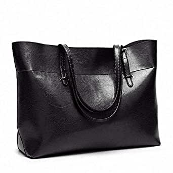 Efuly Womens Soft Leather Handbags Large Capacity Retro Vintage Top-Handle Casual Tote Shoulder Bags (Black)