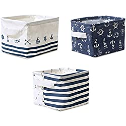 Lannu Nautical Fabric Storage Baskets Bins Cloth Collapsible Organizers Box Beach Anchor Nursery Toys Basket Shelves & Desks Pack 3
