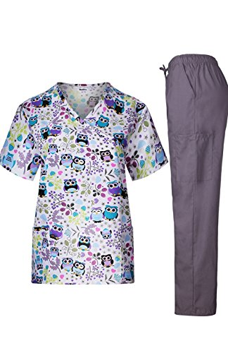 MedPro Women's Medical Scrub Set with Printed Wrap Top and Cargo Pants Purple Grey XL -