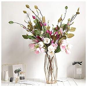 Mikilon Artificial Magnolia Flowers Artificial Plant Real-Touch Magnolia Bouquet Home Wedding Decoration,Home Decor Party Garden Office (Pink) 5