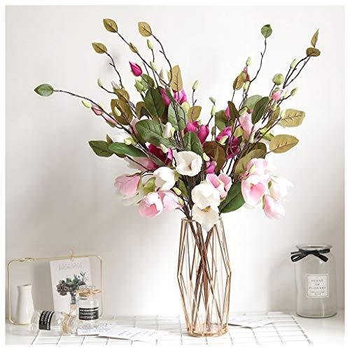 Lily Vine - Mikilon Artificial Magnolia Flowers Artificial Plant Real-Touch Magnolia Bouquet Home Wedding Decoration,Home Decor Party Garden Office (Hot Pink)