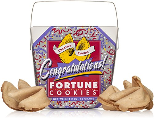 Congratulations Gifts Fortune Cookies In A Gift Box - 8 Pieces Traditional Vanilla Flavor Individually Wrapped - Kosher Certified Gourmet Gift
