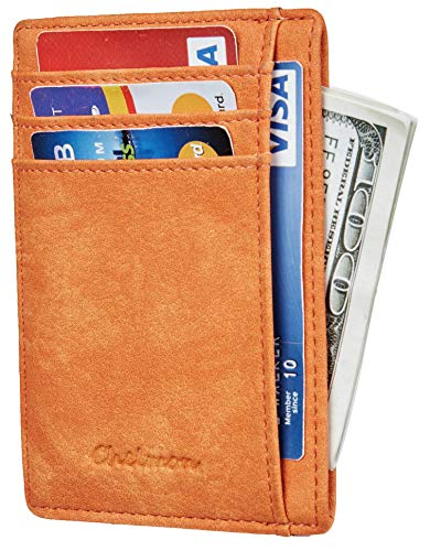 Chelmon Slim Wallet RFID Front Pocket Wallet Minimalist Secure Thin Credit Card Holder (Vinti Orange Yum) ()