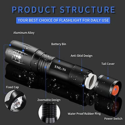 Airand LED Tactical Flashlight 3000 Lumen Rechargeable LED Flashlight Torch Flashlight 18650 Battery Charger, Zoomable, 5 Modes, Waterproof Handheld Light Spotlight For Outdoor, Camping, Hiking