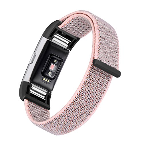 bayite Nylon Bands Compatible Fitbit Charge 2, Replacement Accessory Strap Wristbands Women Men Large Small, Color3 Small