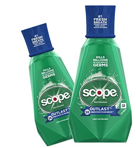 (2 Pack) Scope Mouthwash, Outlast, Long Lasting Mint, 33.8 oz. - Pack Scope