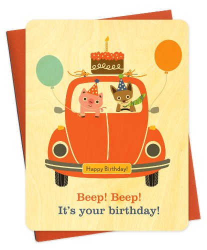 Beep Beep Cake Car Wood Birthday Card by Night Owl Paper Goods - Bugs Birthday Cake