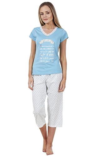 BHS Ladies Short Sleeve Love Cotton Cropped PJ's Set Nightwear Crop Pyjamas