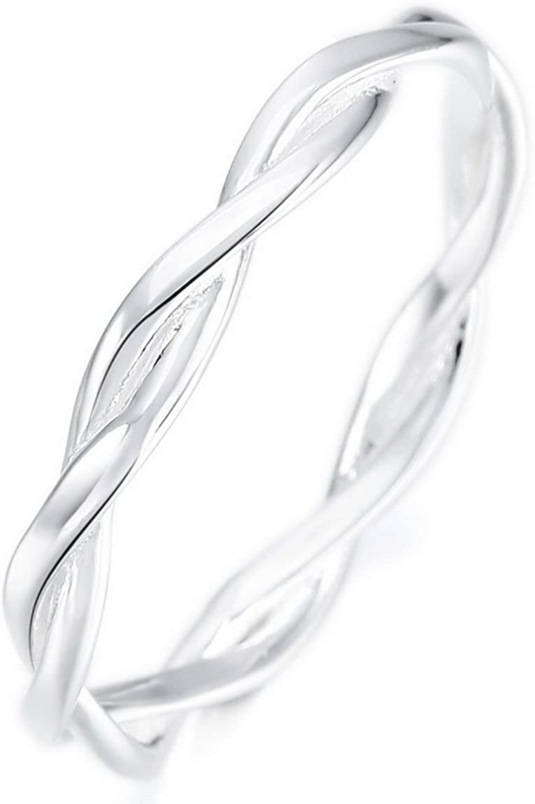INBLUE 925 Sterling Silver Twist Rings for Women Girls Lover Sisters Engagement Wedding Promise Jewelry for Mothers Day Valentines Day Friendship