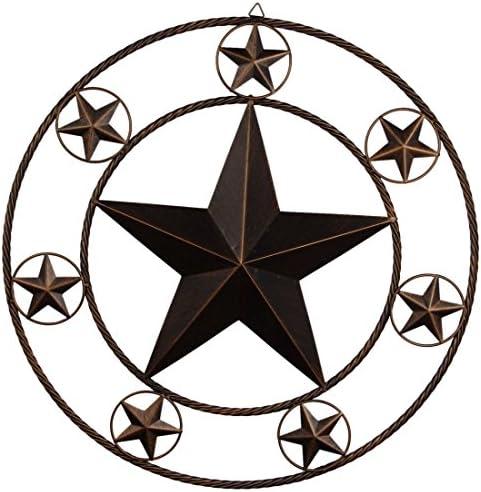 EBEI 26″ Vintage Metal Bran Star Wall Decor Metal Wall Decor Western Home Wall Decor Antique Circle Dark Brown Texas Lone Star Home Decor