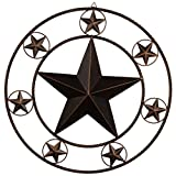 Ai.Moichien 26'' Vintage Dark Brown Home Metal Circled Star Wall Decor for Retro Style Living Room/Office/Bar/Restaurant Decoration