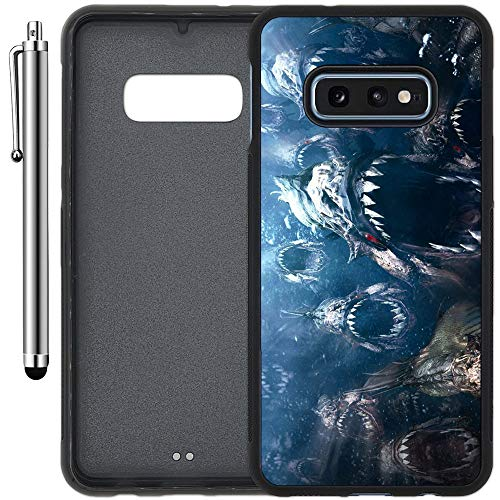 (Custom Case Compatible with Galaxy S10e (5.8 inch) (Scary Piranha Attack) Edge-to-Edge Rubber Black Cover Ultra Slim | Lightweight | Includes Stylus Pen by Innosub )