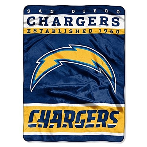 """The Northwest Company Officially Licensed NFL San Diego Chargers Plush Raschel Blanket, 60"""" x 80"""", Blue"""