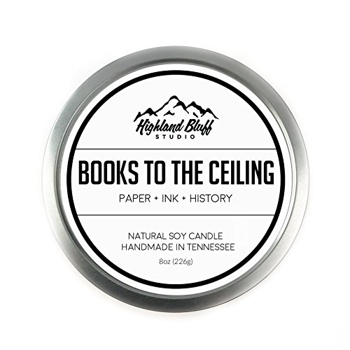 Books to the Ceiling - 8oz Soy Candle - Paper, Ink, and History