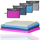 Microfiber Travel & Sports Towel, Ultra Compact, Lightweight, Absorbent and Fast Drying Towels, Ideal for Gym, Beach, Travel, Camping, Backpacking, Sports, Fitness, Exercise, Yoga (3 or 1 Pack)