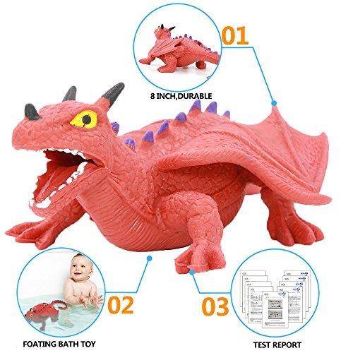 Spielzeug-Set in Form von Dinosauriern aus Gummi von 8 Inch (6 Stücke), sicheres Material TPR, super dehnbar, mit Lernkasten, Tierwelt, lebensechte Figuren von Dinosauriern, für Jungs und Kinder für Jungs und Kinder Zoo World