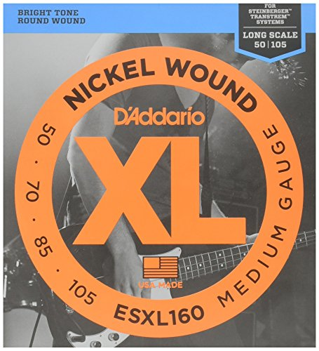 D'Addario ESXL160 Nickel Wound Bass Guitar Strings, Medium, 50-105, Double Ball End, Long - Wound Nickel Bass