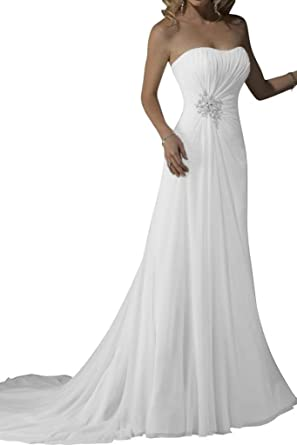Gorgeous Bridal Long White Chiffon Simple Wedding Dress Gown Strapless UK Size 6