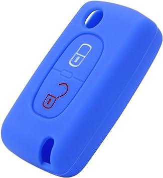 Citroen Bleu Housse De Clé Silicone 2 bouton Peugeot