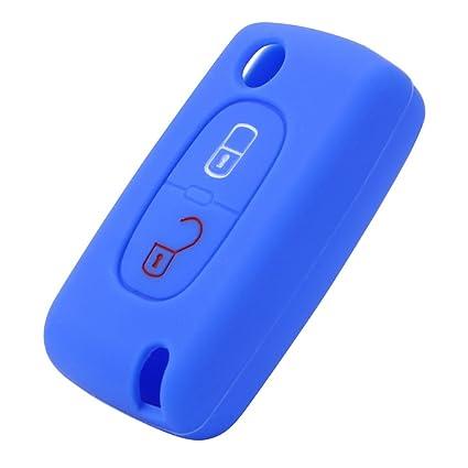 Carcasa Nopnog para llave de coche Peugeot 207 307, de silicona, color azul, con 2 botones