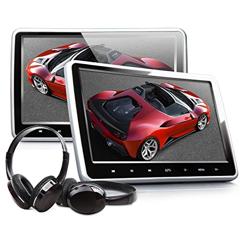 Eonon C1100A 10.1 Inch Headrest DVD Player Portable DVD Headrest Monitor For Car Digital Touch Screen Headrest DVD Player with Digital Touch Button HDMI USB SD Port (One Pair-Black)
