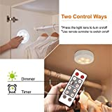Lifeholder 6 Pack Led Puck Lights, Timer Wireless Kitchen Under Cabinet Lighting, Battery Powered led puck light Remote Control Kitchen Under Counter Nursery Bedroom Hallway Stairs