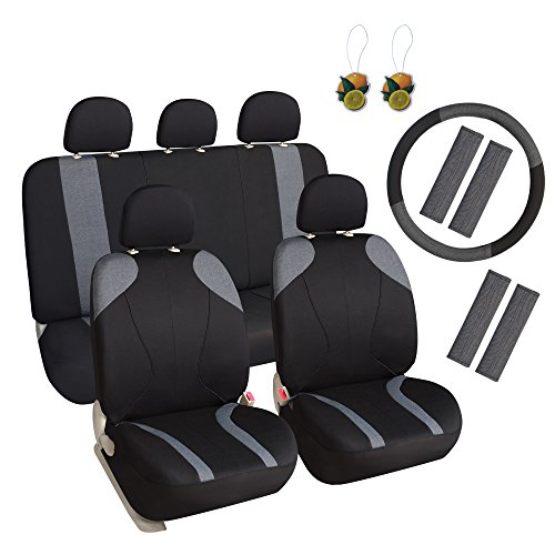 Leader Accessories 17 pcs Combo Pack Cloth Seat Covers for Car and SUV, Auto Interior Gift Full Set,Black and Grey (Covers Seat Combo)