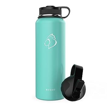 BUZIO - Botella de Agua Deportiva de Doble Pared de Acero Inoxidable, sin BPA, Tapa Flexible y Tapa de Paja, 1000 ML, Menta