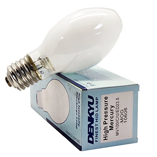MV100/U/4K/ED23.5/COATED 100W Mercury Vapor Lamp H38 MOG Bulb (10606) (E39 Mercury Coated Base Vapor)