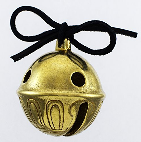 Real Brass Christmas Polar Sleigh Bell Ornament, Jingle Express From Santa and His Reindeer At Santa's Sleigh Bells - Harness Velvet Santa Red