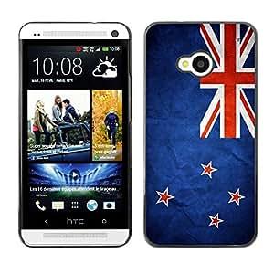 Caucho caso de Shell duro de la cubierta de accesorios de protección BY RAYDREAMMM - HTC One M7 - New Zealand Grunge Flag