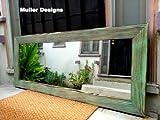 Green mirror/ standing mirror/ floor mirror. For Sale