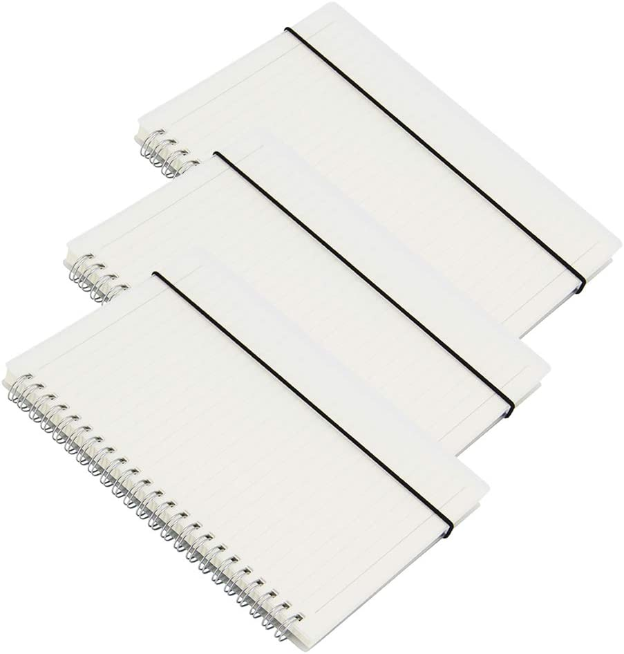 Zegrox 3 Pack Transparent Hardcover Ruled Spiral Notebook/students and office,Writing diary Subject Notebooks,College Ruled,80 Sheets (160Pages)-8.35x 5.75inch,A5 size.Kraft Paper Hardcover (Lines)