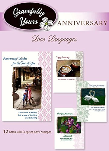 Gracefully Yours Love Languages Anniversary Greeting Cards, 12, 4 designs/3 each with Scripture Message
