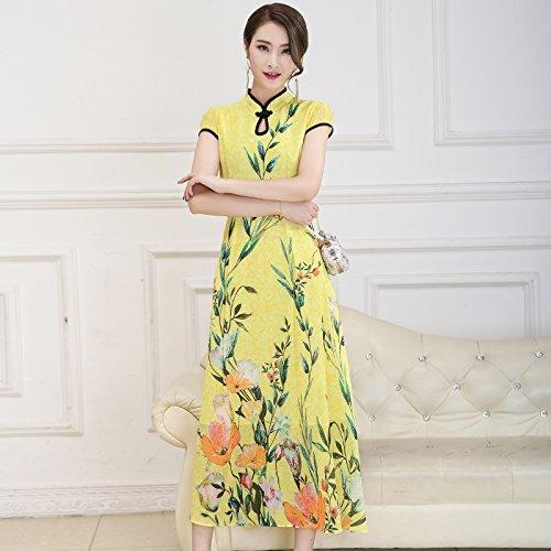 XIU*RONG Imprimir Vestir Mujer Nieve Verano Hilados Falda Falda Péndulo Grande Edad Media Falda Madre yellow