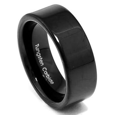8mm Black Tungsten Flat Top High Polish Band Men/'s Wedding Ring